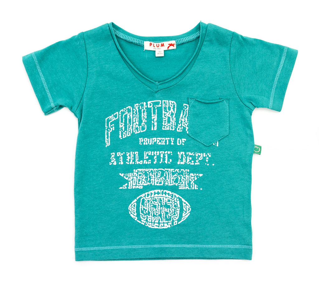 Plum Baby Boy Henley Tee Aqua Football ON SALE - Prairie Lane Boutique for Kids