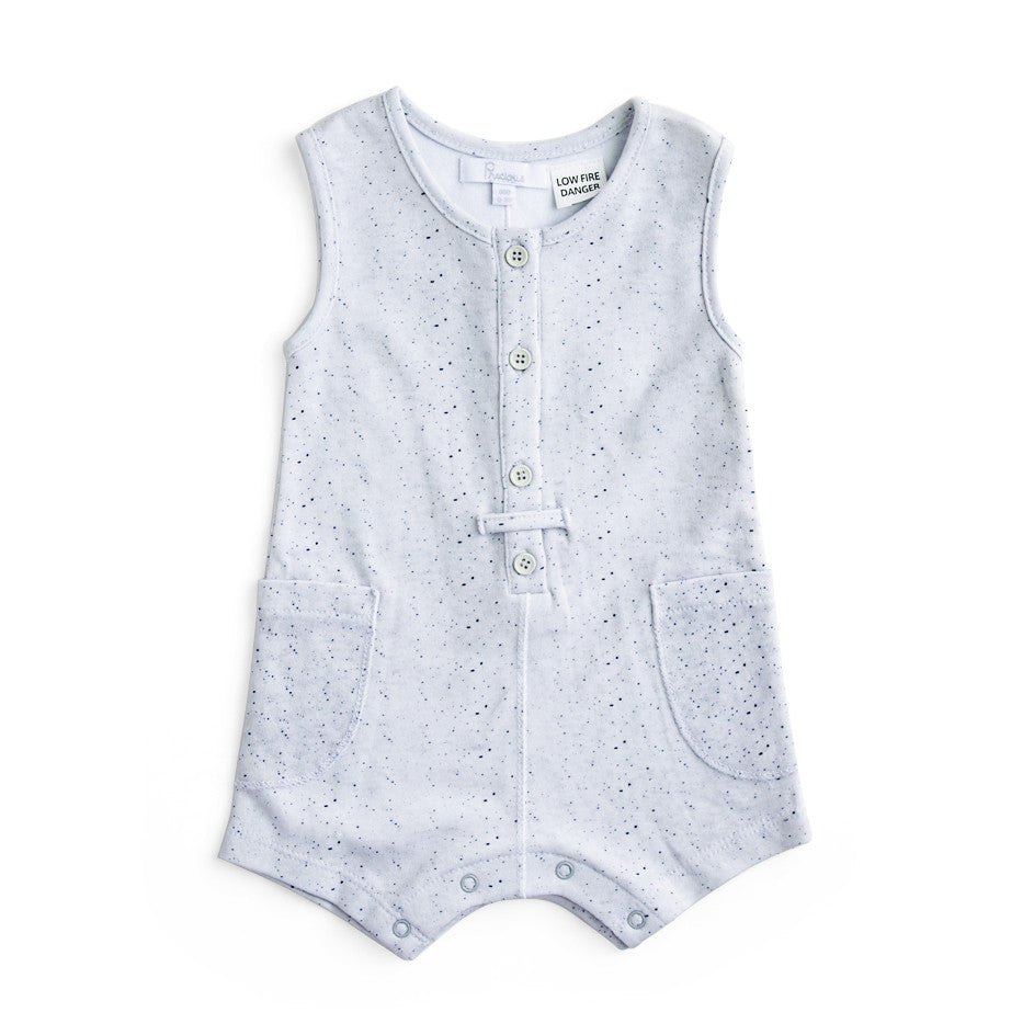 Plum Precious Baby Boy Grey Button Playsuit ON SALE - Prairie Lane Boutique for Kids