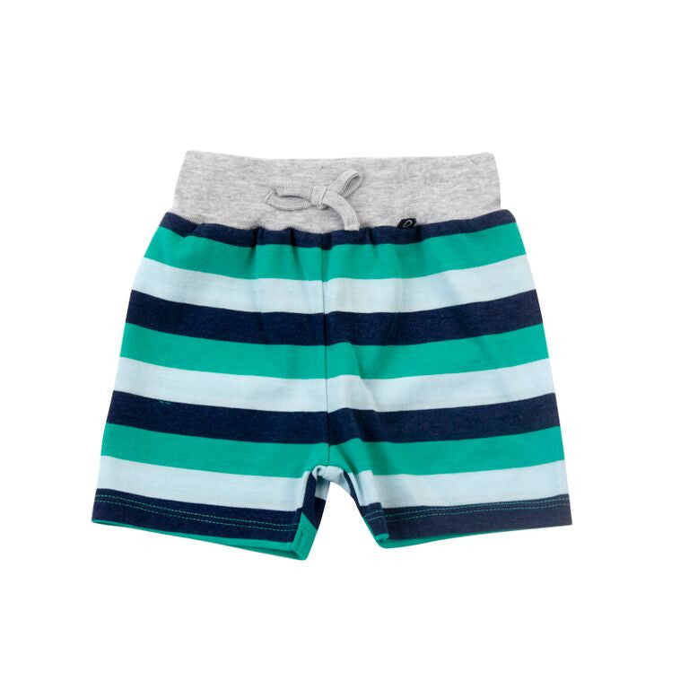 Plum Precious Baby Boy Aqua and Navy Stripe Shorts ON SALE - Prairie Lane Boutique for Kids