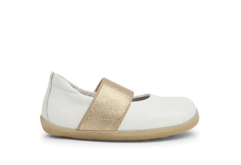 Bobux Step Up Demi Ballet Shoe White - Prairie Lane Boutique for Kids