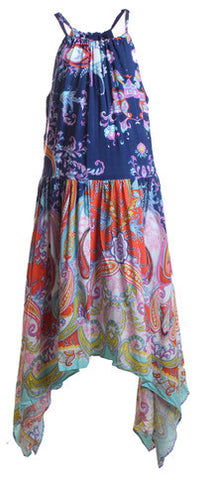One Red Fly X15 Navy and Orange Print Dress ON SALE