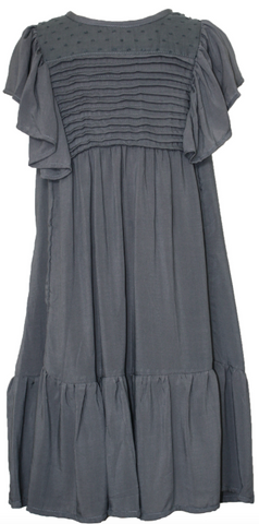 Mii Love Mu Girls Pin Tuck Dress Rayon Slate