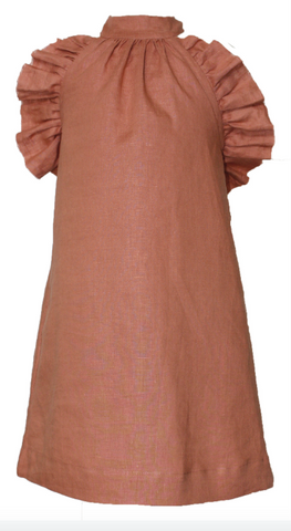 Mii Love Mu Girls Linen Halter Neck dress Terracotta
