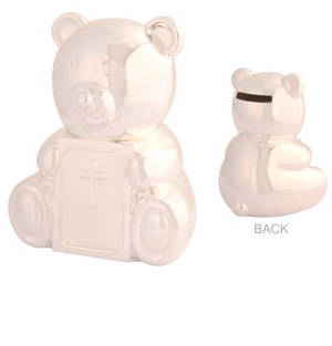 Baby Silver Bear Christening Money Box - Prairie Lane Boutique for Kids