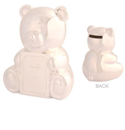 Baby Silver Bear Christening Money Box