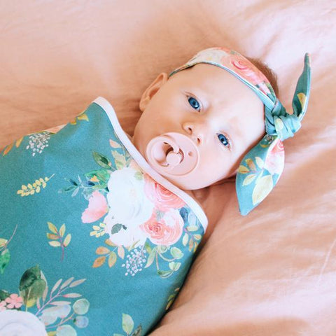 Cheeky Little Fox Teal Floral Jersey Wrap & Top Knot headband Gift set - Prairie Lane Boutique for Kids