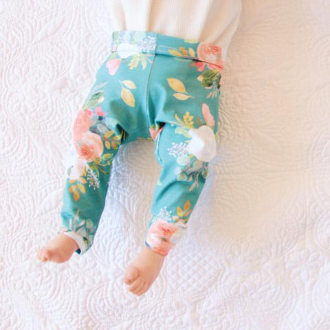 Cheeky Little Fox Teal Floral Leggings