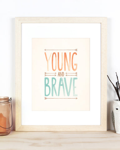 Billy & Scarlet Tribal Young and Brave Watercolour Nursery Print