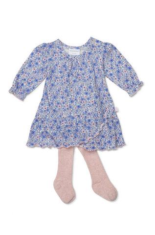 Marquise Periwinkle dress and footed tights