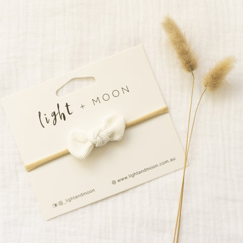 Headband by Light and Moon White Mini Corduroy Bow headband