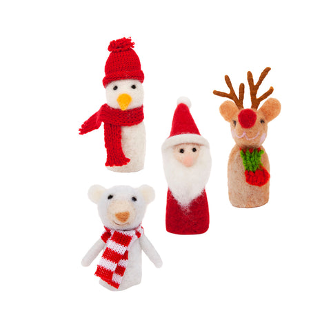 Christmas Finger Puppets set of Four