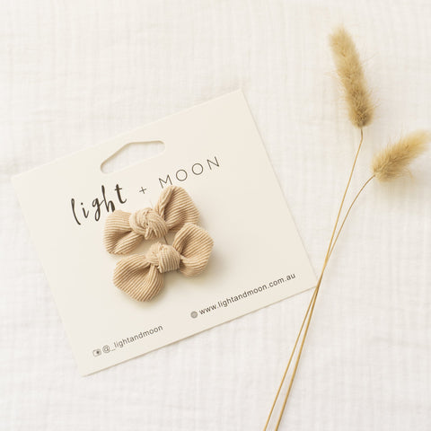 Bow Clips by Light and Moon  Corduroy Bow clips, White,Dusty Rose, lilac, Beige and Dusty Blue