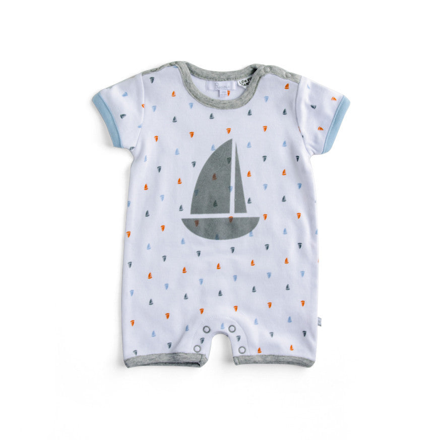Plum Precious Baby Boy Little Boats Romper ON SALE