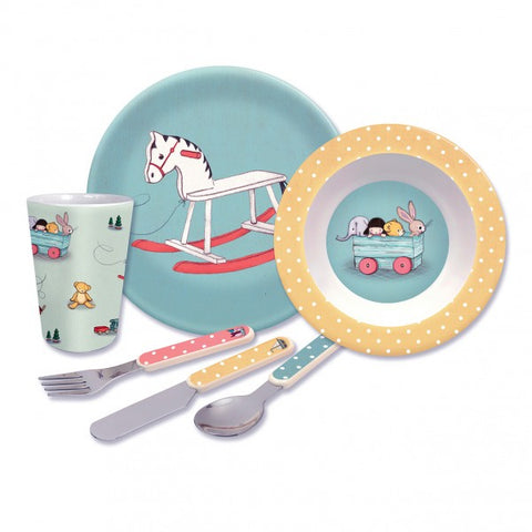 Belle and Boo Toy Box 6 Piece Melamine and Cutlery Dinner Set