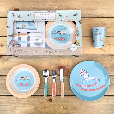 Belle and Boo Toy Box 6 Piece Melamine and Cutlery Dinner Set - Prairie Lane Boutique for Kids