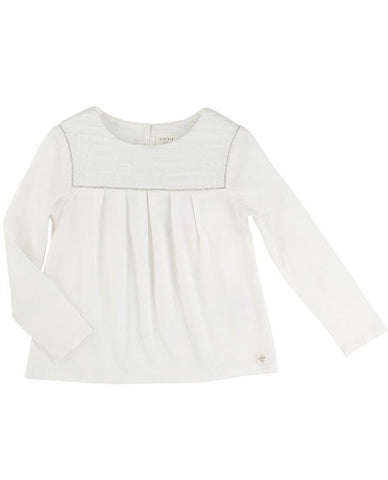 Carrement Beau Girls Long Sleeve Blouse in Ivory - Prairie Lane Boutique for Kids