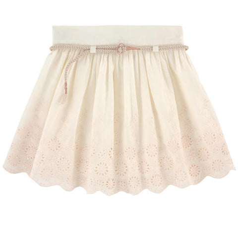 Carrement Beau Girls Ivory Broderie Anglaise Lace Skirt - Y13010
