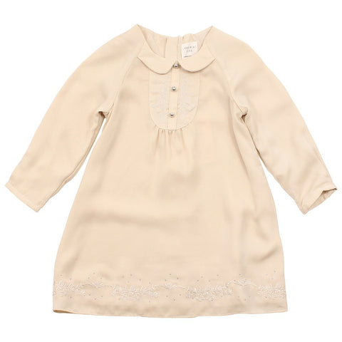 Carrement Beau Girls Long Sleeve Dress in Stone