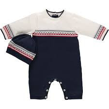 Emile et Rose SALE Boys Fernando Knit All In One With Cap - Navy