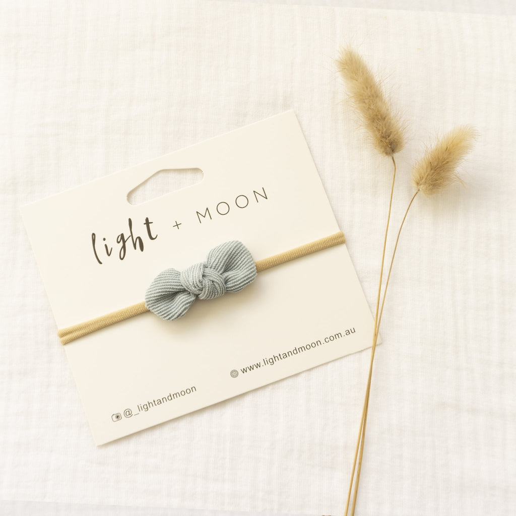 Headband by Light and Moon Dusty Blue Mini Corduroy Bow headband