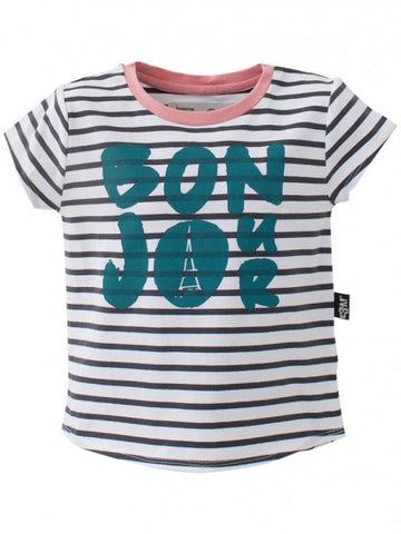 E3M (eeni meeni) SALE Girl Cap Sleeve Top - Pure White & Indigo - Bonjour - Prairie Lane Boutique for Kids