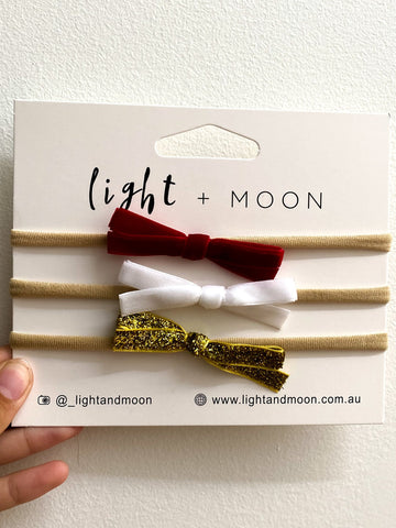 Light and Moon Limited Edition Christmas Trio Velvet Headband Pack of 3