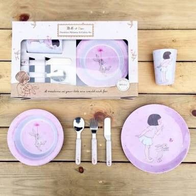 Belle and Boo 6 Piece Melamine and Cutlery Dinner Set - Prairie Lane Boutique for Kids
