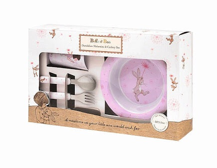 Belle and Boo 6 Piece Melamine and Cutlery Dinner Set