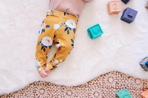 Cheeky Little Fox Floral Mustard Peony Leggings - Prairie Lane Boutique for Kids