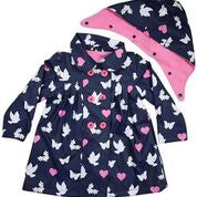 Korango Rainwear Birds and Butterflies Colour changing raincoat Navy - Prairie Lane Boutique for Kids