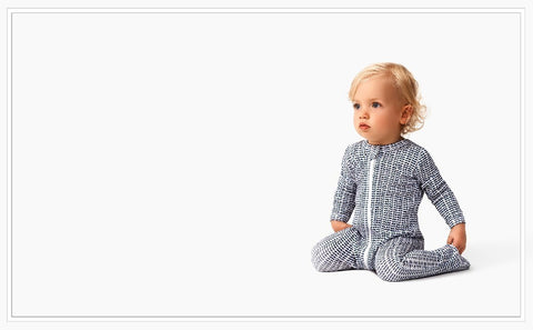 Marquise Baby Zipsuit - Navy Print - Prairie Lane Boutique for Kids