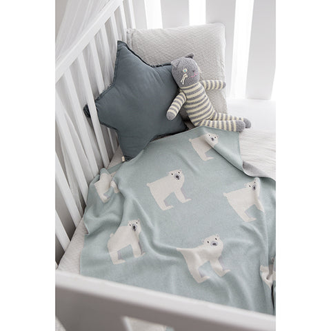 Kenzi Living - Polar Bear Baby Blanket - Mint - Prairie Lane Boutique for Kids