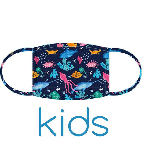Kids Face Masks  Tropical Seas, Alpacas, Leopards, Singing Whales Design