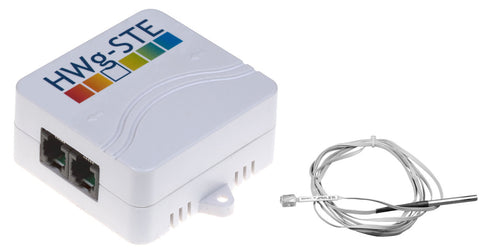 HWG STE IP Ethernet Thermometer, with IP67-rated flat sensor cable (3m) with stainless steel tip