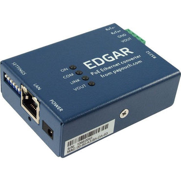 EGDAR POE Ethernet Serial Converter device, side profile. Available from 8wired.com.au