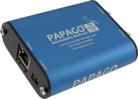 Papago 2TH PoE 2-Channel environmental monitoring solution, with humidity and temperature sensor options, over Ethernet, with event memory