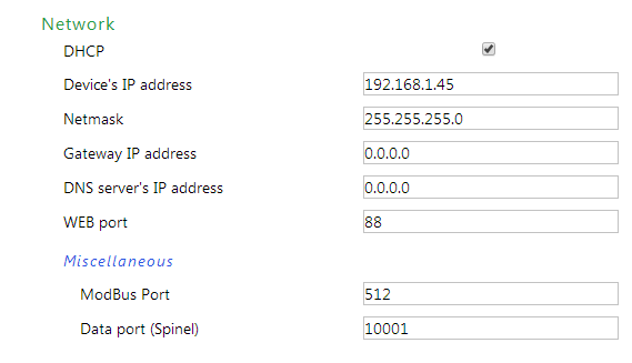 DHCP Ethernet configuration