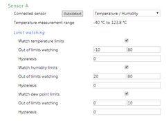 2 humidity and temperature sensors / thermometers on PoE capable networked Ethernet monitoring unit, dual sensor ports, with email alerts, web interface. Model: Papago-2TH-Eth-2THD