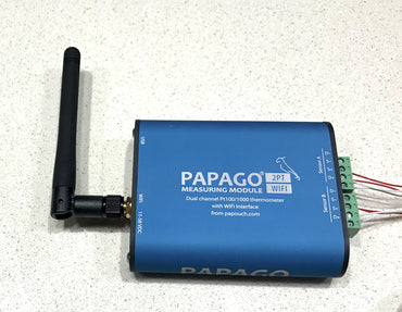 Swimming Pool Temperature Monitoring Solution Papago 2PT-WIFI 2-Channel system with PIPE TEMPERATURE SENSORS, over Wi-Fi