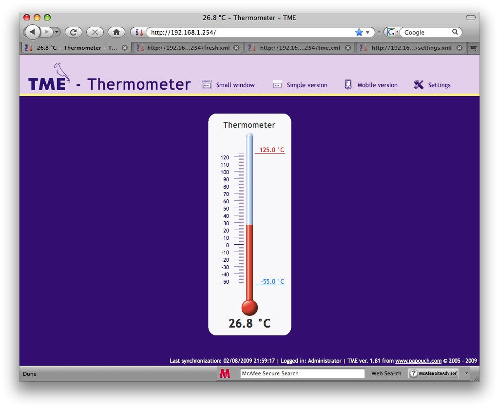 Temperature monitoring from any standard web browser, including mercurial scale