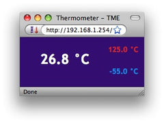 TME Ethernet Thermometer web interface - decimal view, from 8wired.com.au
