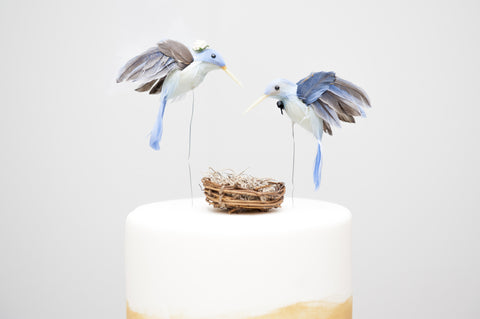 Blue Hummingbird Bride & Groom Cake Topper