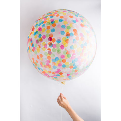 Clear Jumbo Confetti Balloon (Multi)
