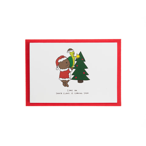 Dracubear Santa Is Coming Christmas Card