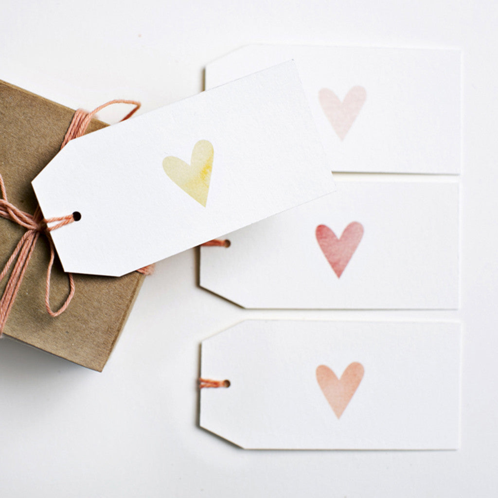 Watercolour Heart Gift Tags