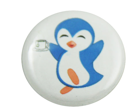 "1.0"" Button - Penguin Drinking Tea"