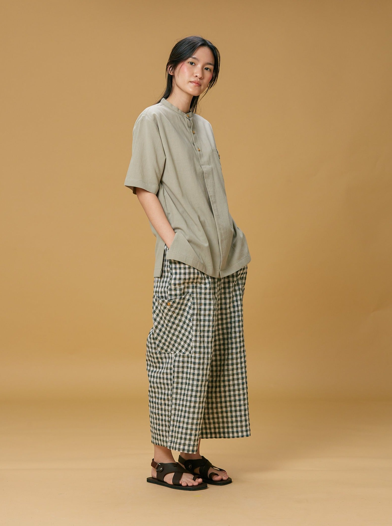 Unisex: Jabat Plaid Culottes (Navy Blue)