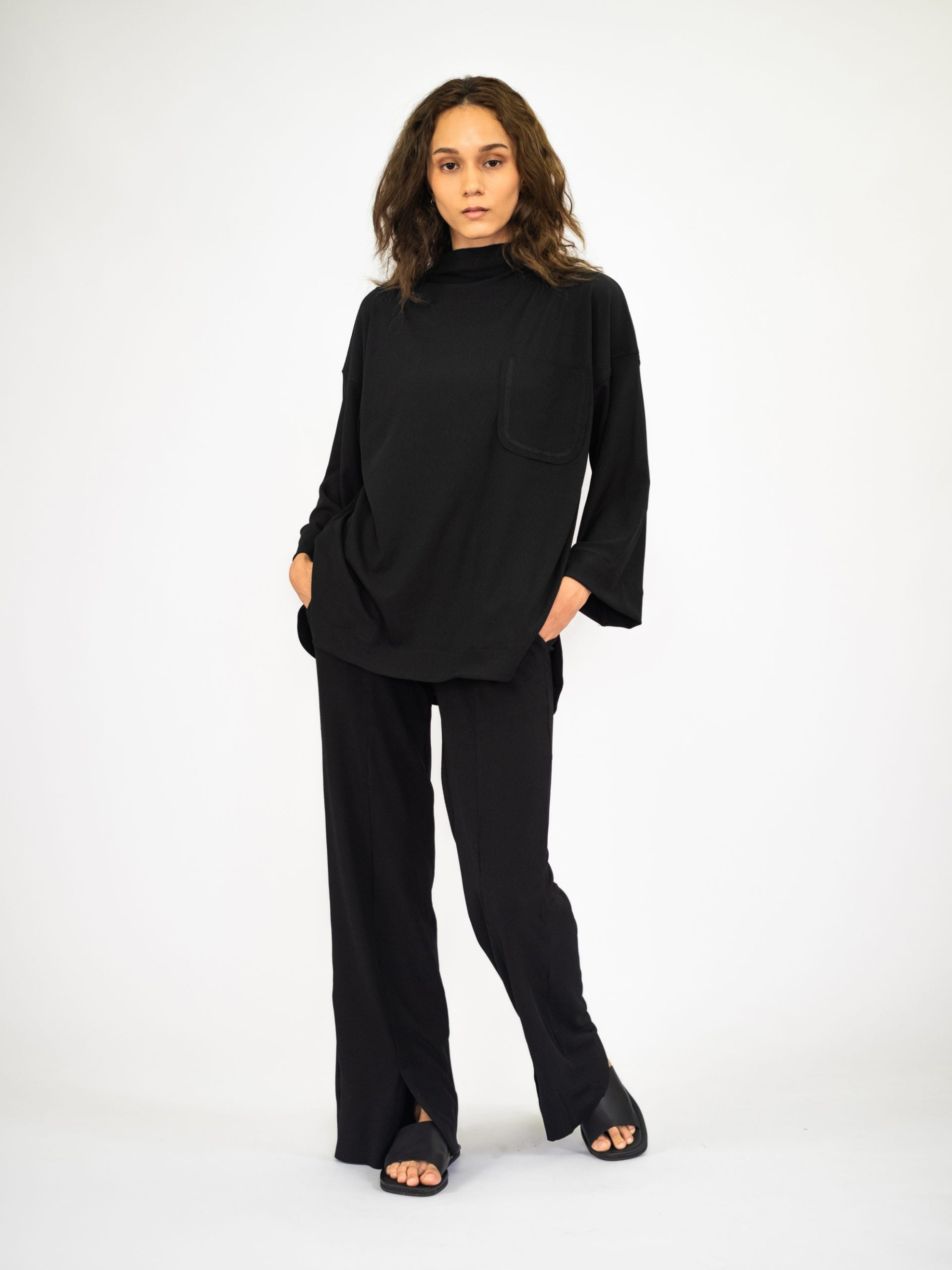 Women: Nyaman Ribbed Pants (Black)