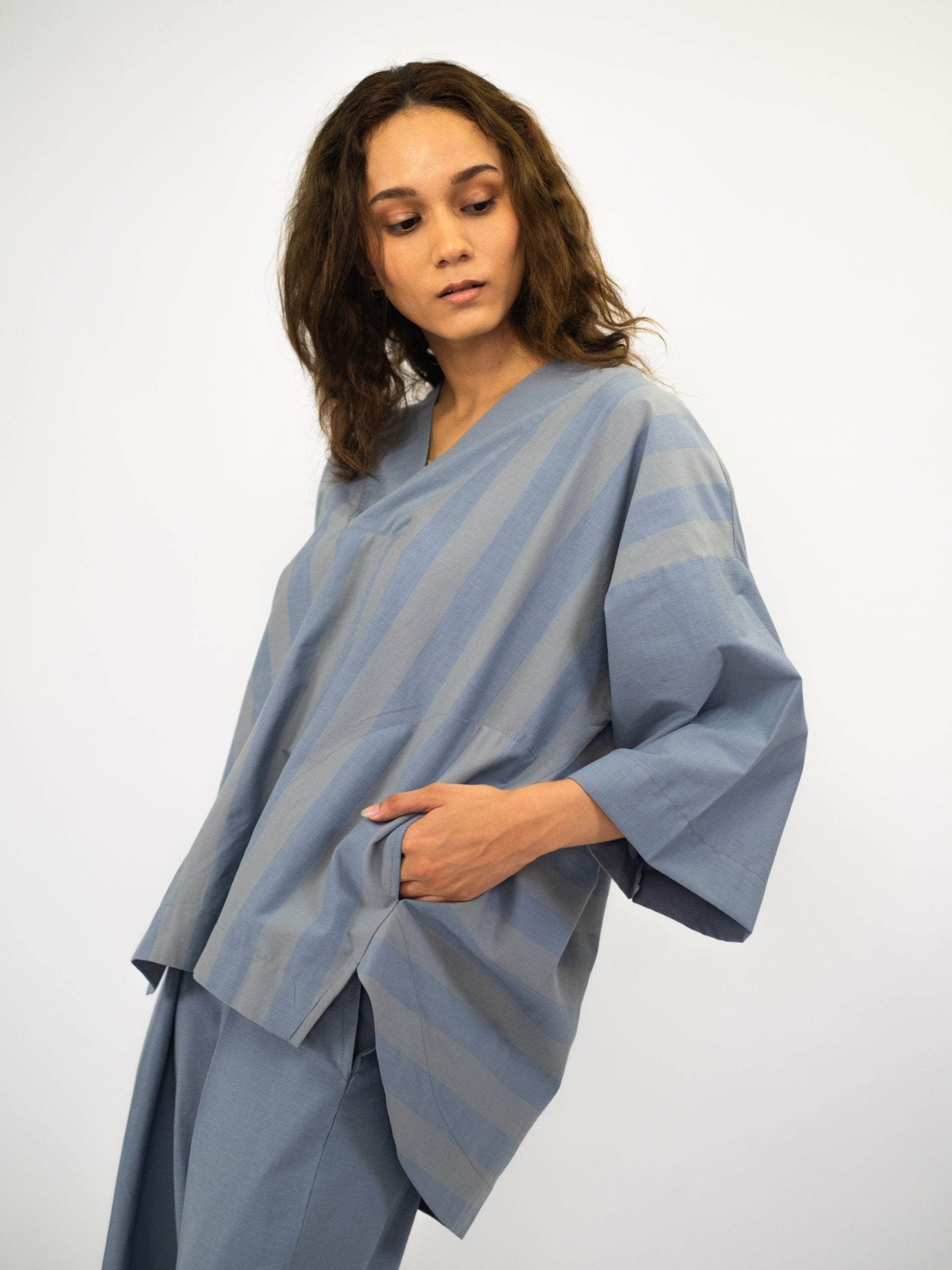 Women: Santai Oversized Top (Dusty Blue)
