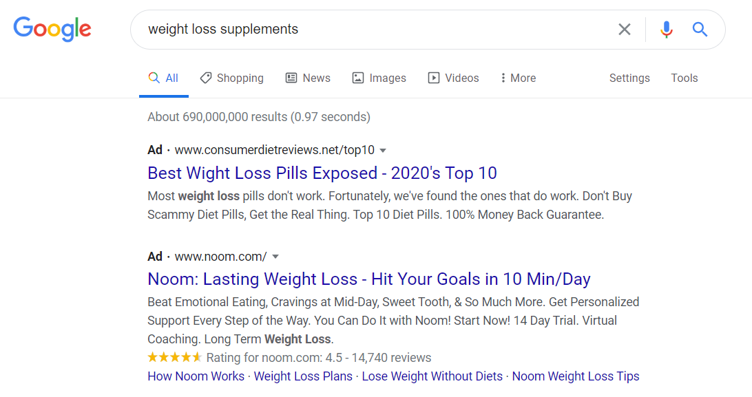 Google Searches for weight loss supplement